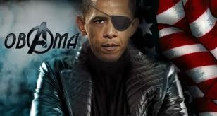 NIck fury and Obama cross-over!!!!! by discogrrl