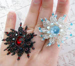Netted Snowflake Ring (Tutorial in link) by OdinsBeadHall