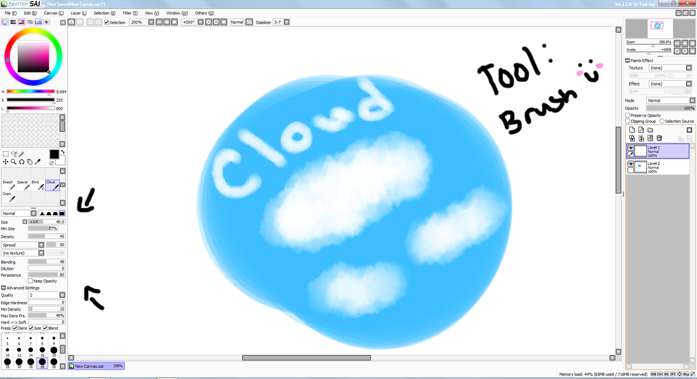 paint tool sai cloud brush settings by gravityfallslover98 on