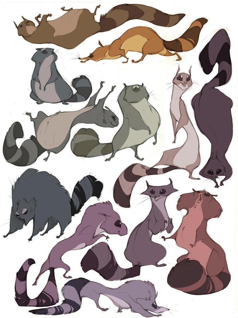 raccoons by CoconutMilkyway