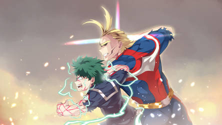 Deku and All Might by Cyphose