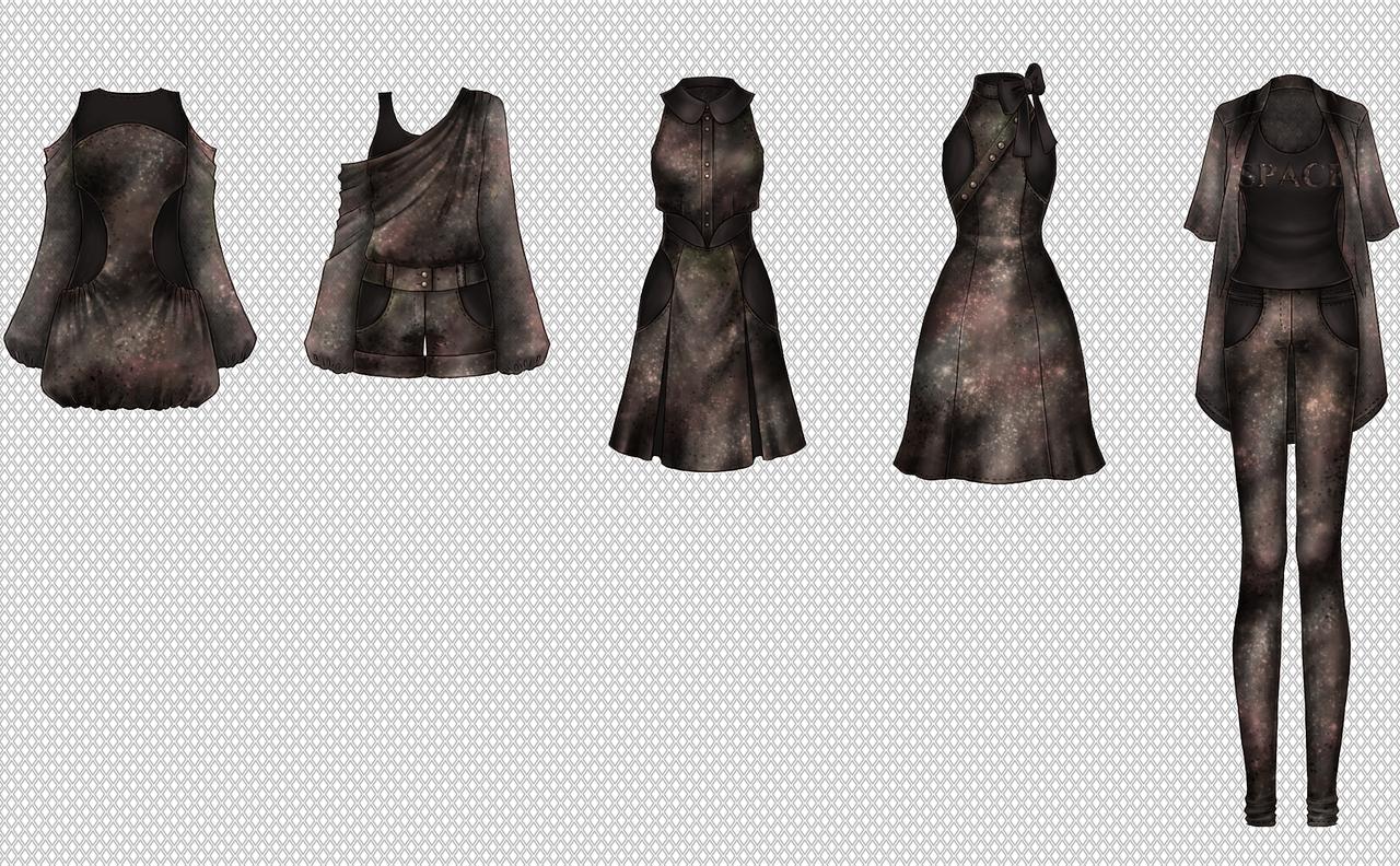 Fashion sketches -Galaxy- by Tea-desu