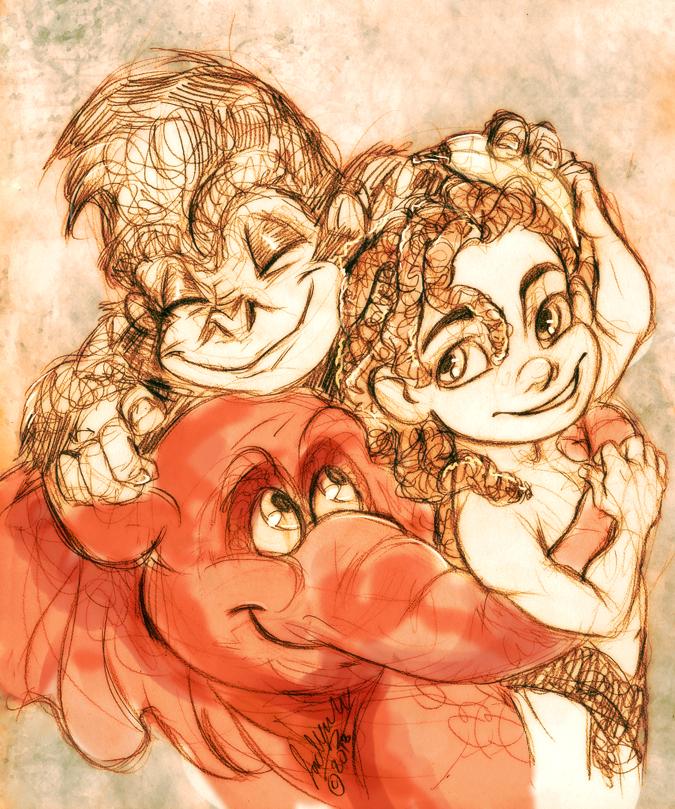 Tarzan, Terk and Tantor by MistyTang