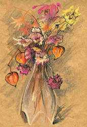 Cape gooseberries and dried flowers