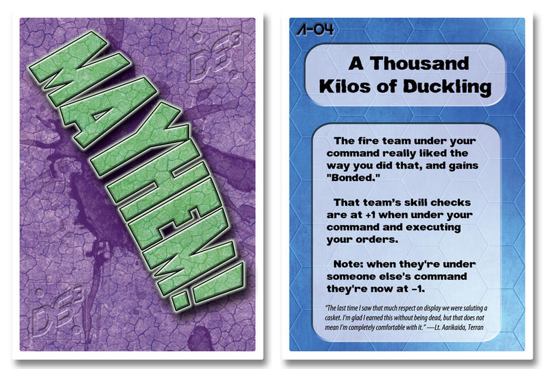 Mayhem Card Sampler - Back, A-04 by HowardTayler