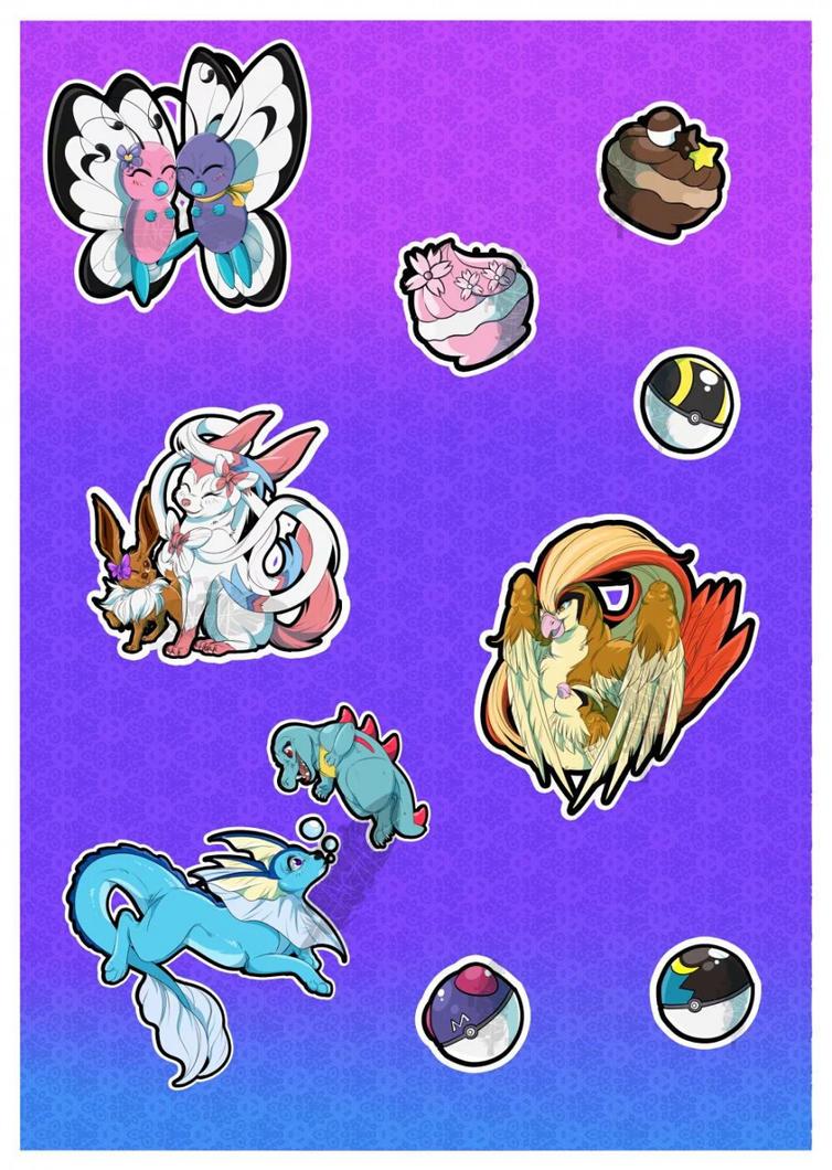 Poke stickers by Akayesia