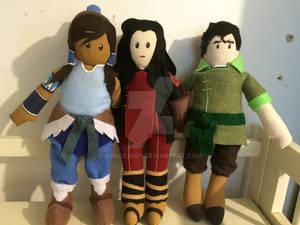 Korra, Asami, and Bolin plushies