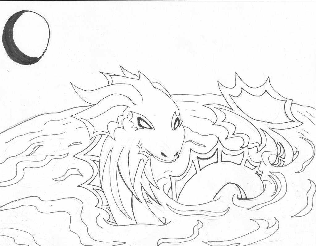 Line Drawing Water : Water dragon line art by themidnghtwolfstar on deviantart