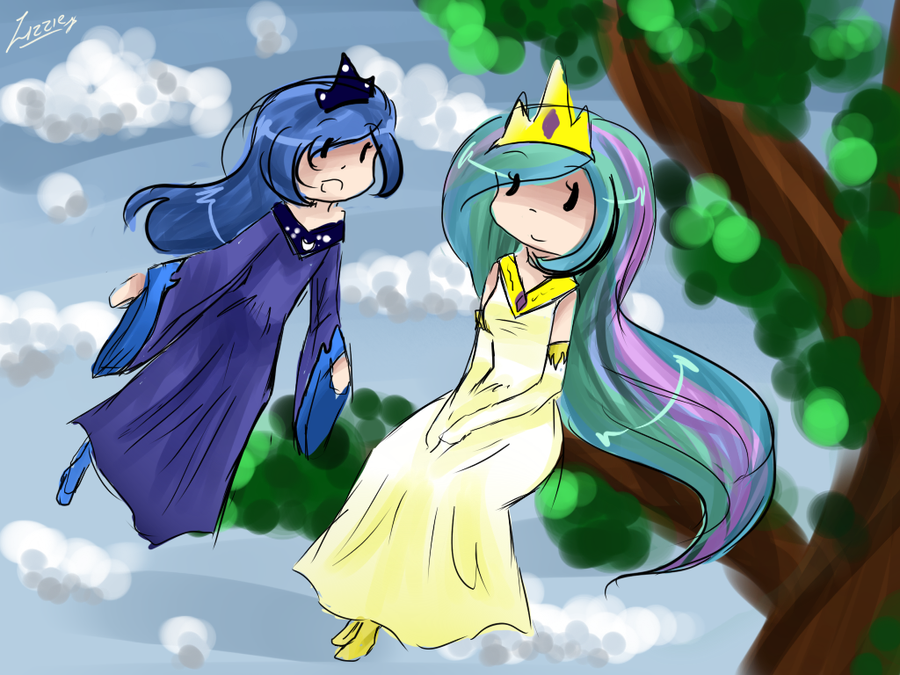 Luna and Celestia by watermelon-clock