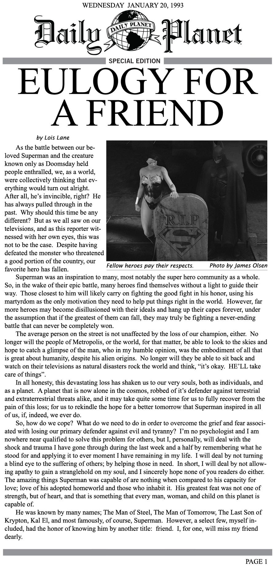 Eulogy For A Friend by FredAckerman on DeviantArt