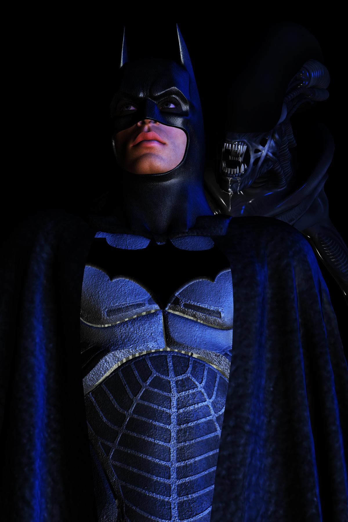 batman vs alien by - photo #10