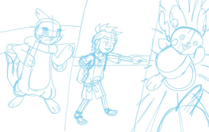 Pokemon - Buizel Hau and Raichu (sketch) by malachitecat