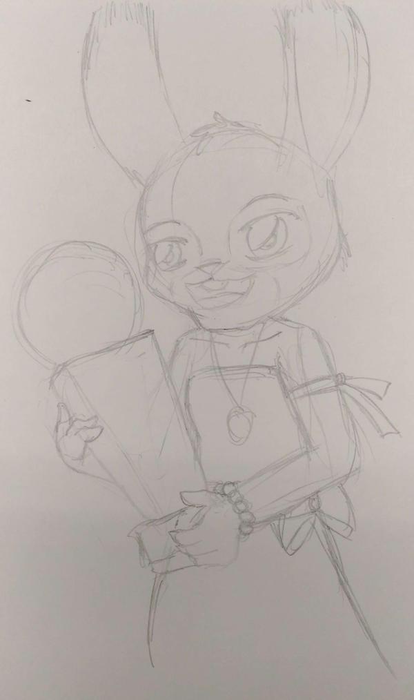 Zootopia - Judy gets a trophy (sketch) by malachitecat
