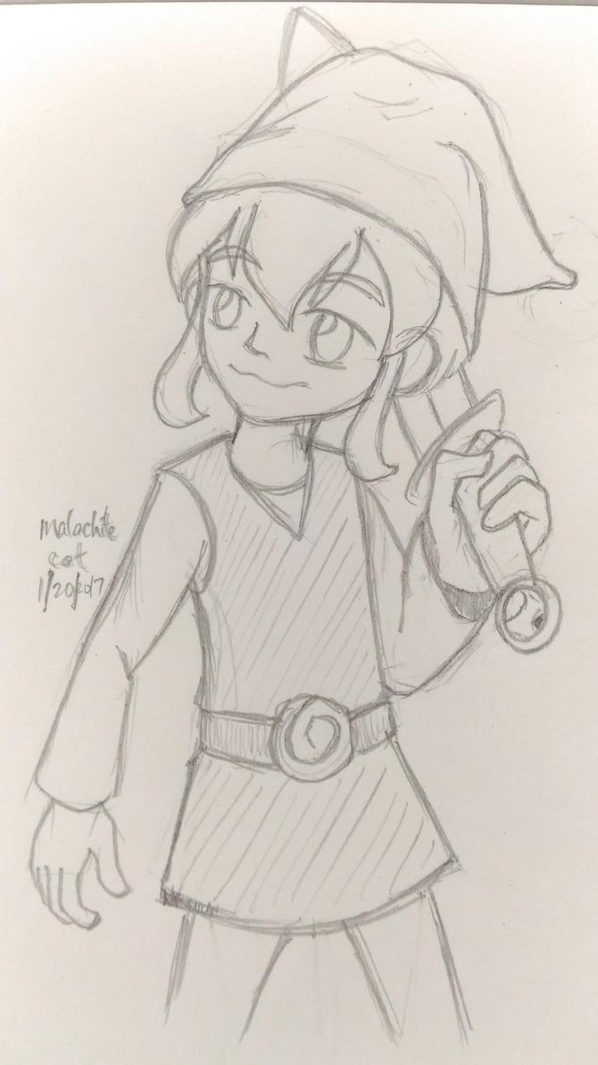 Random Boy With Sword: Toon Link (sketch) by malachitecat