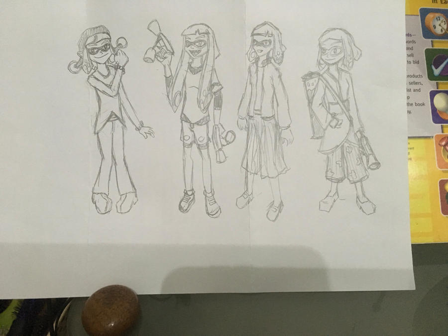 Splatoon - Older Inkling Girl concept sketches by malachitecat