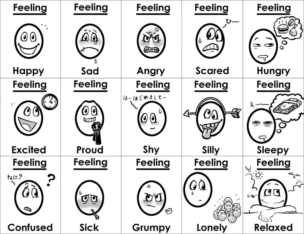 Free coloring pages emotions - Feelings Cards By Gladlad Feelings Cards By Gladlad