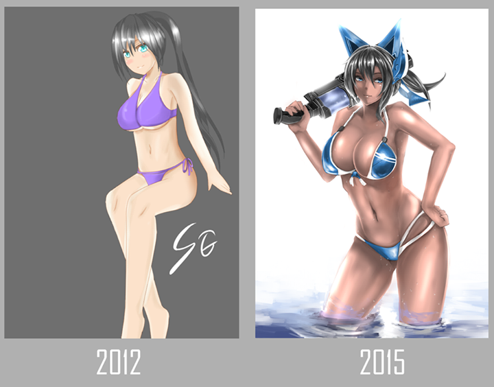 2 year in swimming suit by saggitary