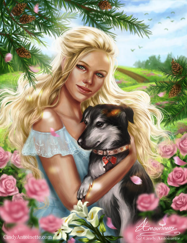 COMMISSION of client with her loyal companion by Amourinette