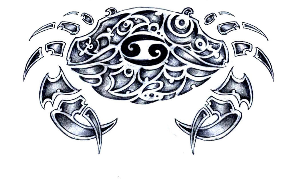 Cancer zodiac sign tribal tattoo sketch by elenoosh