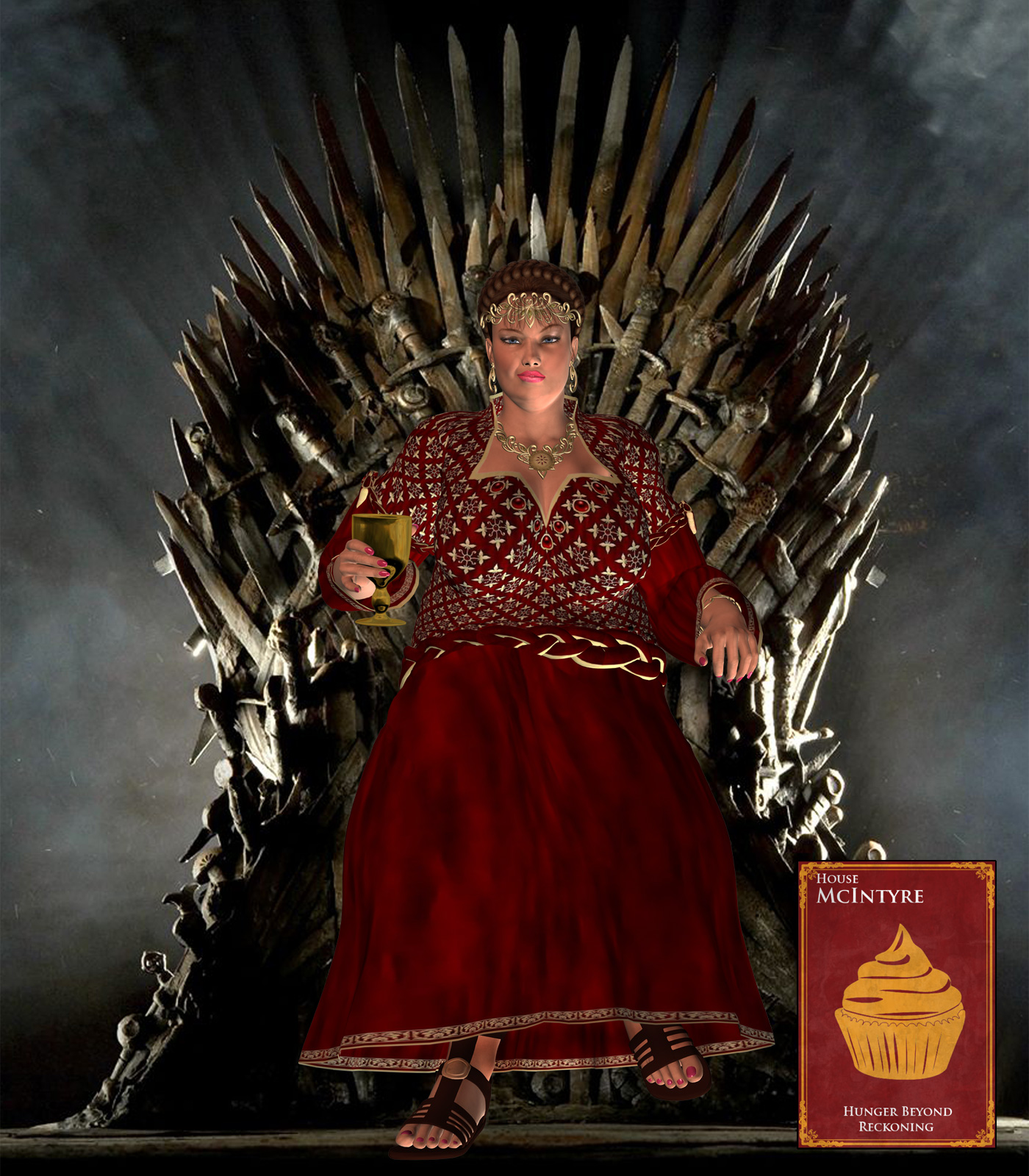 Queen miranda on the iron throne by lardmeister on deviantart for Iron throne painting