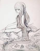 Inktober 23: Mistress of the River by L-L-arts