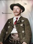 Bavarian man on Ellis Island (colorized)