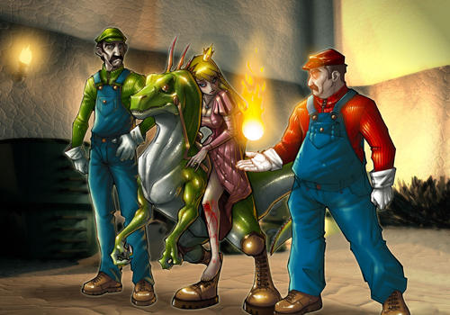 Mario comic  compossed scene by POP8