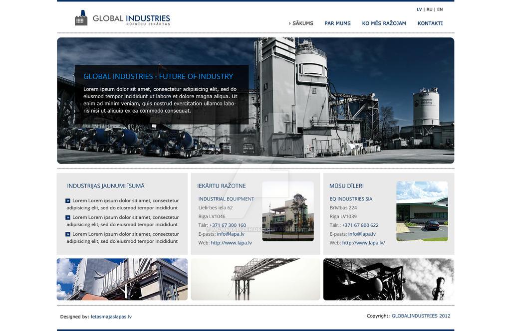 Industrial navy blue website design by mcwebalizer on for Industrial design sites