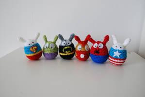 Easter superheroes by Ahookamigurumi
