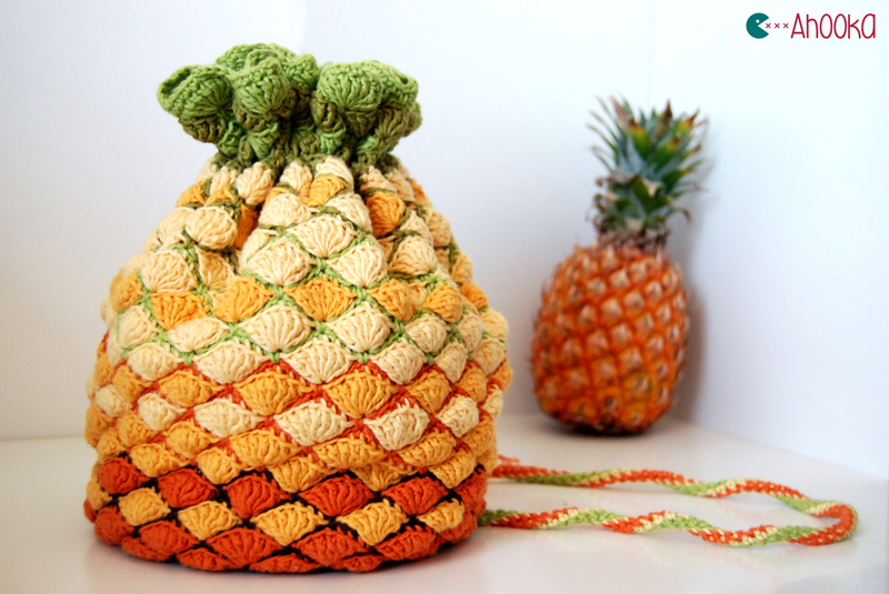 Crochet Net Bag : Pineapple crochet back v2.0 by Ahookamigurumi on DeviantArt