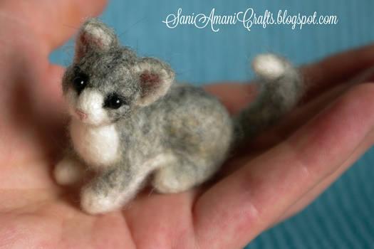 Needle felted grey kitten