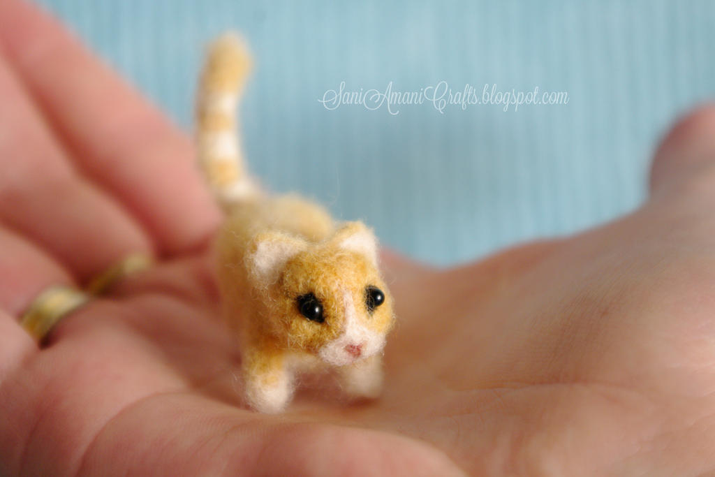Needle felted yellow kitten