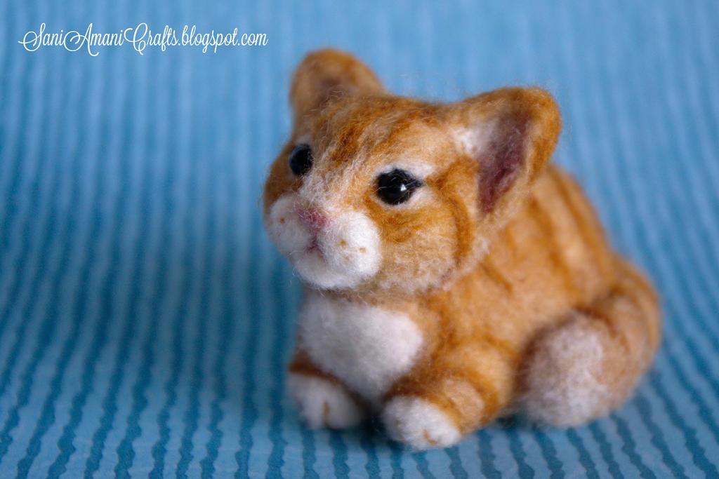 Needle felted orange kitten