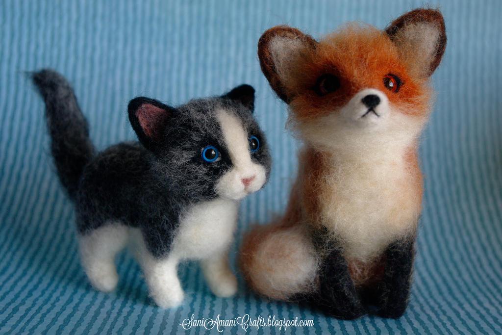 Needle felted kitten and fox