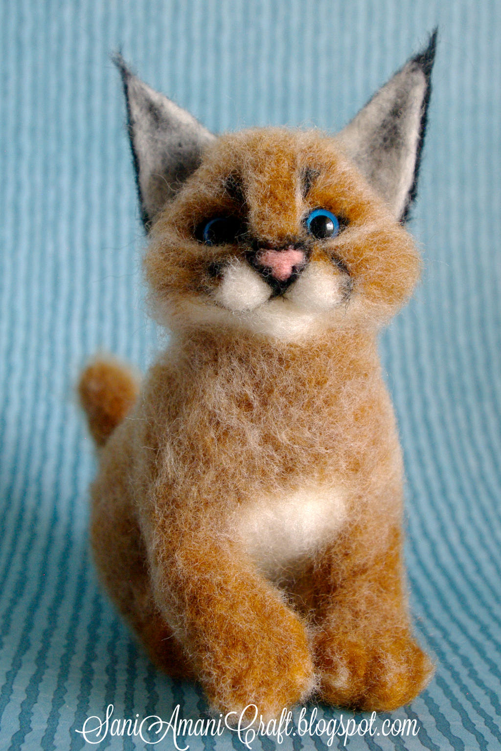 Needle felted sculpture - Caracal cub II by SaniAmaniCrafts