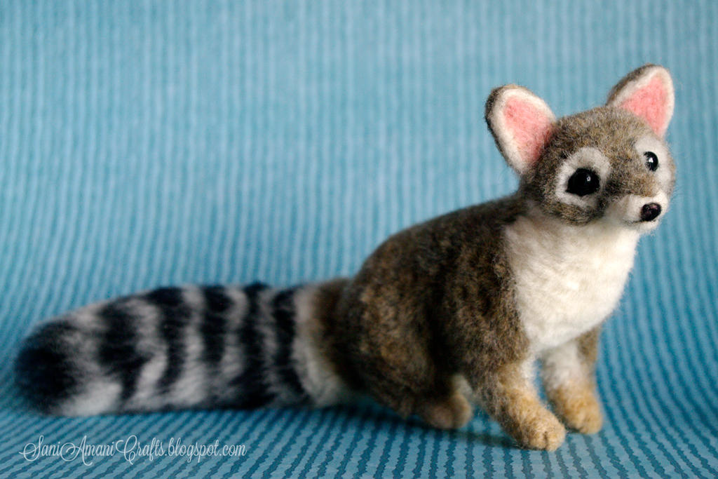 Needle felted cacomistle or ring-tailed cat