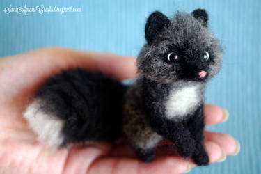 Needle felted silver fox II by SaniAmaniCrafts