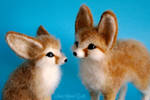 Needle felted fennec foxes