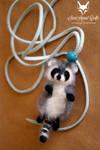 Needle felted raccoon pendant
