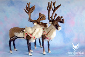 Pair of needle felted reindeers in Christmas tacks