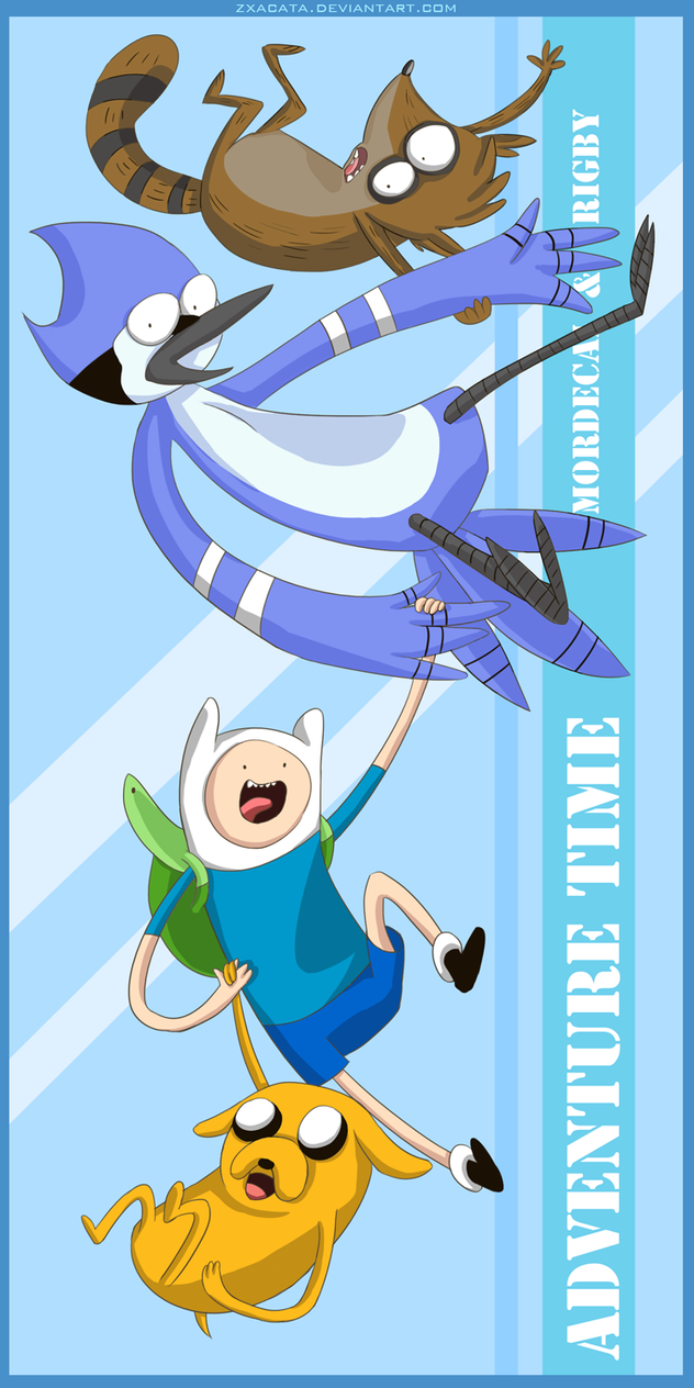 Adventure Time with Mordecai and Rigby by Zxacata