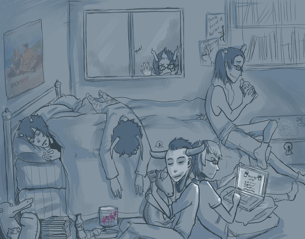 Sleepoverstuck wip by Kayetart
