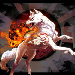 Okami Amaterasu by 9tailsfoxyfoxy