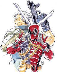 Cable and Deadpool by ai-eye