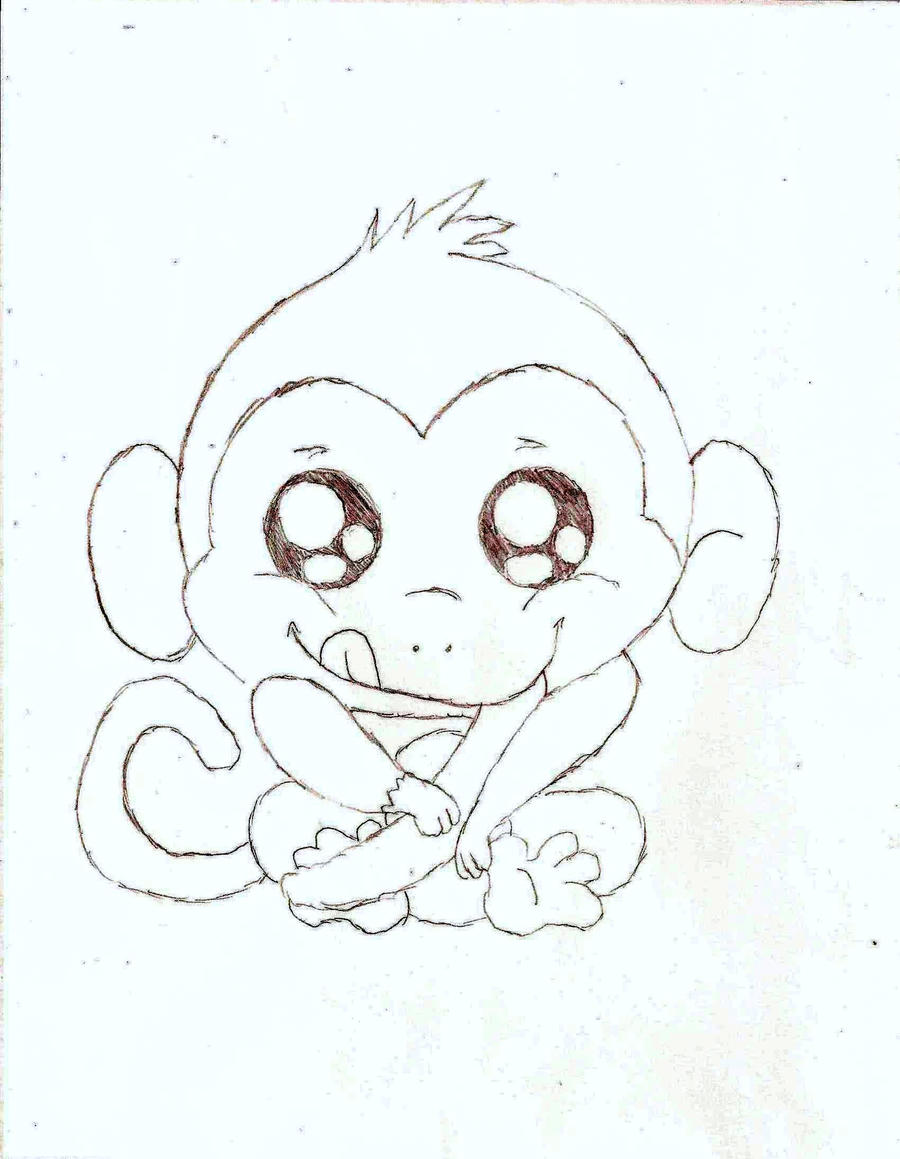 Cute Baby Monkey Drawing a Cute Baby Monkey by