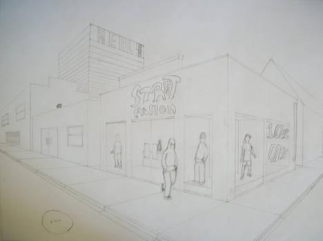 Phoenix City Street Corner (2 point perspective)