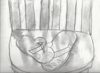 Sandals on a chair (charcoal)