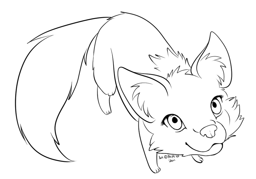 Line Drawing Fox : Fox lineart by littletihany on deviantart