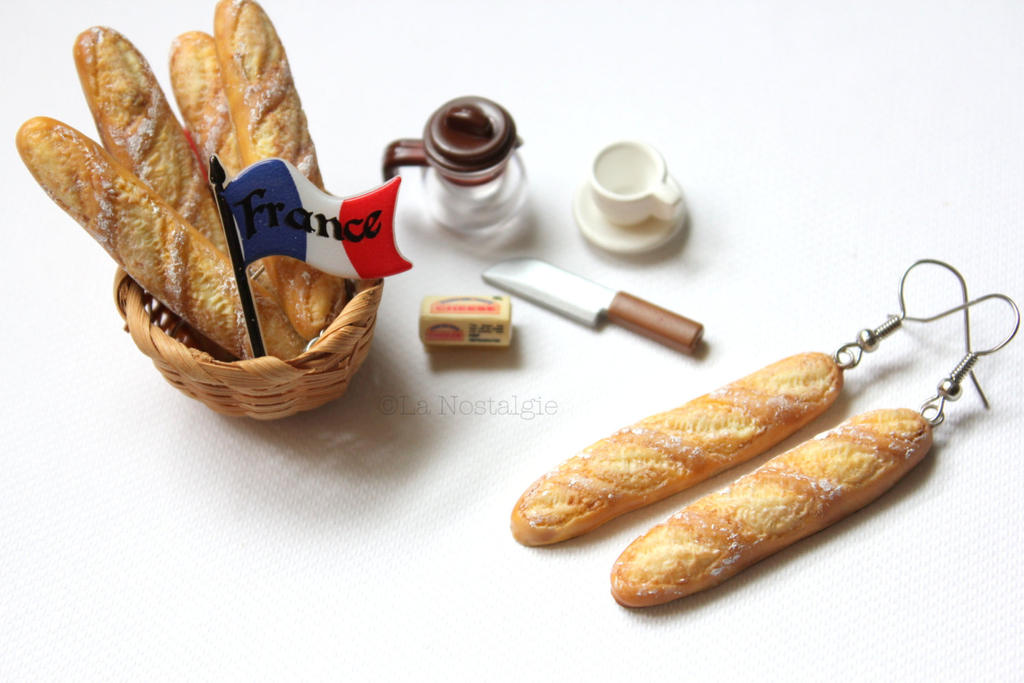 Miniature French Baguette Earrings by LaNostalgie05