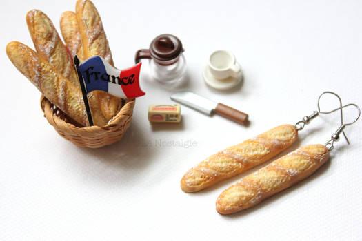 Miniature French Baguette Earrings